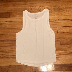 White high neck muscle tank